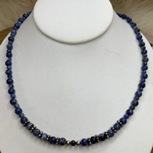 "925 Sodalite 22"" Bead Necklace"